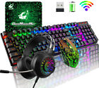 Wireless Gaming Keyboard Mouse Headset and Pad RGB LED Light Backlit For PC PS4