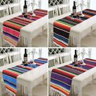 Mexican Style Table Runners Home Bar Fringe Striped Cotton Tablecloth Decor