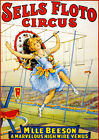 Sells Floto - M'lle Beeson - Marvelous High Wire Venus - 1921 Circus Show Poster