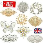 Large Diamante Crystal Pin Brooch Vintage Antique Modern Silver Gold Lot Bouquet