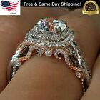 Gorgeous 925 Silver Rings Round Cut White Sapphire Women Wedding Rings Size 6-10