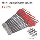 """12pc 7.5inch Crossbow Bolts Carbon Arrows 2"""" Vanes Hunting Blade Broadheads"""