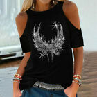 Womens Cold Shoulder Loose Tops Casual Short Sleeve Blouse Ladies T Shirt Tee US