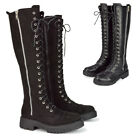 Womens Lace Up Knee High Boots Ladies Black Flat Biker Combat Military Shoes 3-8