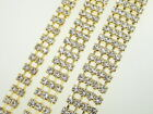 Gold Multi Row 3mm Crystal Rhinestone Chain