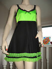 NEW Unique Black,UV Green,Pink,Yellow Frilly Mini Dress,Rave,Dance,Clubwear,Rock