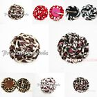 Animal Print Rosette Chiffon Flower Hair Clip for Skirt
