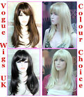 Ladies Long Fashion Wigs Page Style Blonde Brown Black Red Wigs Vogue Wigs UK
