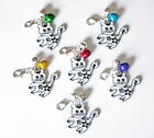 PET CAT COLLAR CHARM WHITE ENAMEL with BELLS CUTE