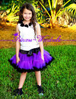 Black Purple FULL Pettiskirt Skirt Petti Party Dance Tutu Dress Girl For 1-8Year