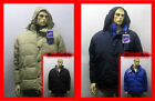 REVERSIBLE Hooded Hoody Heavy Puffer Jacket Black/Beige Navy/Royal Blue Medium M