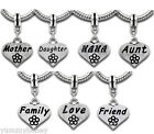 Family Heart Dangle Charm Bead Choose Wording Mother Nana Daughter Friend Love