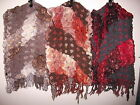 Ladies' Chunky Ruffle Scarf Multi Coloured Brown Orange Red Multi-Textured