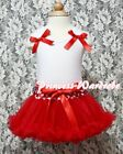 Newborn Baby Red Minnie Dot Waist Pettiskirt Tutu Red Ruffle Bow White Top 3-12M