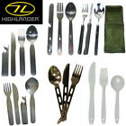 HIGHLANDER KFS SETS CAMPING BUSHCRAFT CUTLERY KNIFE FORK SPOON MILITARY SCOUTS