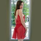 Plus Size Lingerie Size 4X  5X or 6X  Red Sheer Babydoll with Back Bows 5515XX