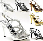 Ladies Silver Prom Shoes Diamonte  Strappy Platform Formal Wedding Evening Shoe