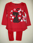Infant Girls Velour Tunic Set - Cat print - Red - Size 12M