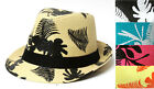 PAPER STRAW WEAVE HAWAIIAN PRINT CUBAN STRUCTURED FEDORA HAT -ASSORTED COLORS