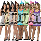 Adult Crayola Tank Fancy Dress Costume Female Womens Crayons Book Fun Hat (8-12)