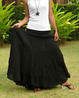Long*Full and Wide Maxi Skirt*Womens*Crinkled*Tiered*Cotton*Oversize*XS – XXL*UK