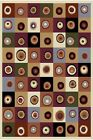 Ivory Cream Beige Green Purple Burgundy Modern Area Rug Squares Circles Carpet