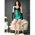Plus Size Lingerie 2pc Ruffle Trimmed Chemise w/Padded Cup & Gstring 1X 2X 3X 4X