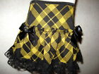 NEW Baby Girl Black,Gold tartan Check Lace frilly Retro,Punk,Goth,Gift  Skirt