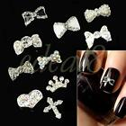 10 Pcs Silver Plated 3D Alloy Rhinestone Nail Art Glitters Tips DIY Decoration