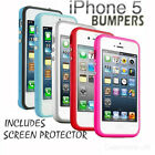 Stylish Bumper Case Cover Apple iPhone 5 & Ultra Thin Clear LCD Screen Protector