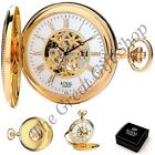 NEW SKELETON HUNTER GOLD POCKET WATCH Superb Quality Boxed Mens Gift CAN ENGRAVE