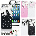 FOR APPLE IPHONE 5 5G LUXURY BLING BLING 3D CRYSTAL DIAMOND BOW HARD CASE COVER