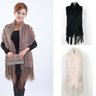 Ladies Real Knitted Farms Rabbit Fur Pocket Tassels Vest Waistcoat New Fashion T