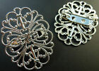 SILVER TONE PLATED LIGHTWEIGHT BRASS BROOCH BLANKS/FINDINGS 34mm