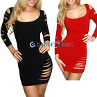 3626_B#  WOMENS SEXY MINI DRESS BLACK/RED Sleeveless Hip Length RIPPED TORN 8 10
