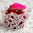 12 Laser Cut Butterfly Cupcake Wrappers Wraps Wedding Tea Party White Cream