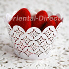 60 Laser Cut Floral Flower Cupcake Wrappers Wraps Wedding Tea Party White Cream