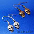 SMALL GOTHIC STYLE SKULL DANGLY EARRINGS ROCK METAL VINTAGE PUNK GIRL EMO BIKER