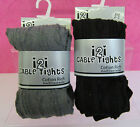 i2i Girls Cable Tights - Grey or Black - Cotton Rich with Elastane Various Sizes