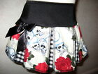 NEW Girls Black red cream white skulls roses check pleated Skirt Goth Rock Party