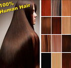 "22"" clip in real human hair extensions black brown blonde 80g free ship to US"