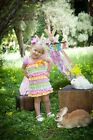 Baby Girl Pink White Polka Dots Rainbow Cap Sleeves Lace Ruffles Pettidress
