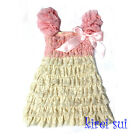 Baby Girl Light Pink Ivory Cap Sleeves Lace Ruffles Pettidress 6Mos-5Y