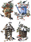 4 Birdhouse Bird House Watering Can Select-A-Size Waterslide Ceramic Decals Tx image
