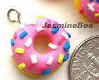 DONUTS Polymer Fimo Clay Charms Beads Pendants, PINK or CHOCOLATE 6pcs