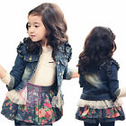 Girl Jean Coat Jacket Outwear Denim Top Button Tulle Kid Costume Cowgirl SZ 3-7