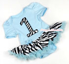 Infant Light Blue Zebra 1 ST Number Jumpsuit Zebra Baby Dress & Shoes NB-12Month