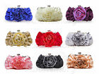 New Satin Evening Wedding Party Clutch Rose Handbag Bag Purse Bride Bridesmaid