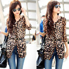 Womens 3/4 Sleeve Leopard Chiffon Casual Long Blouse Tops Shirt With Belt Size S