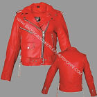 Womens Ladies RED soft Leather Motorcycle Biker Club Jacket Coat